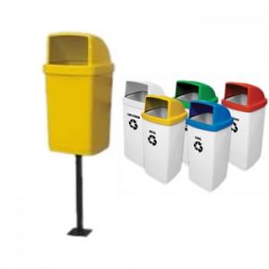 Lixeira coleta seletiva fiberglass, com suporte uma lixeiras e individuais 50 litros