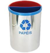 Lixeiras para coleta seletiva cesto inox cilindrico com divisorias internas pp 30 litros