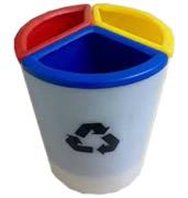 Lixeiras para coleta seletiva cesto plastico PE cilindrico com divisorias internas 30 litros
